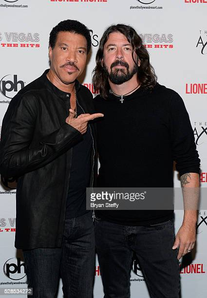 Lionel Richie and Dave Grohl backstage at the SiriusXM Town Hall during SiriusXM's Town Hall Series hosted by Dave Grohl at The AXIS at Planet...