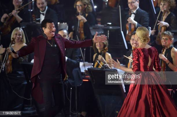 Lionel Richie and Federica Panicucci at the Paul VI Hall during the Vatican annual Christmas concert Vatican City December 14th 2019