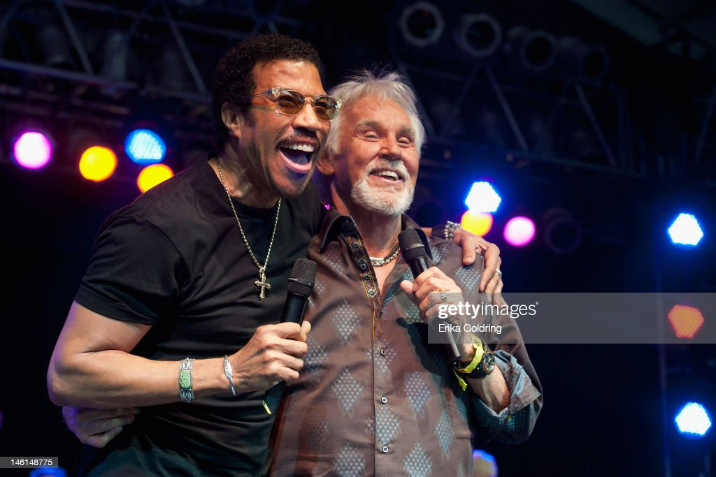 Lionel Richie and Kenny Rogers perform at The Other Tent during the 2012 Bonnaroo Music and Arts Festival on June 10, 2012 in Manchester, Tennessee.