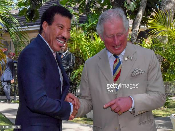 Lionel Richie and Prince Charles Prince of Wales attend a Prince's Trust International Reception at the Coral Reef Club Hotel on March 19 2019 in...