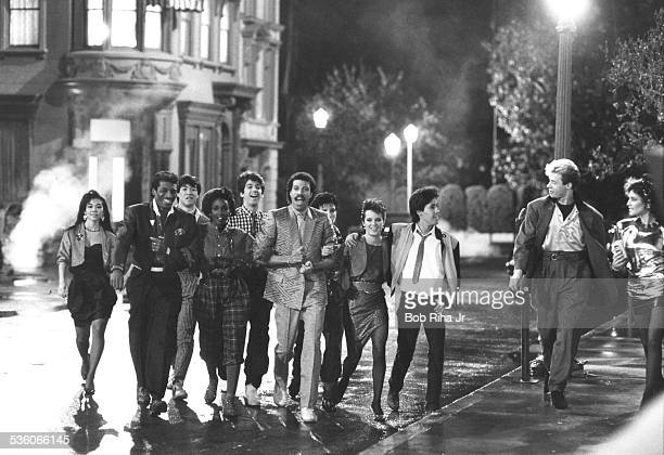 Lionel Richie films a Pepsi commercial November 291984 in Los Angeles California