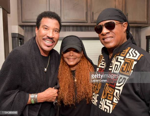 Lionel Richie Janet Jackson and Stevie Wonder are seen backstage on Day 2 of Barclaycard Presents British Summer Time Hyde Park at Hyde Park on July...