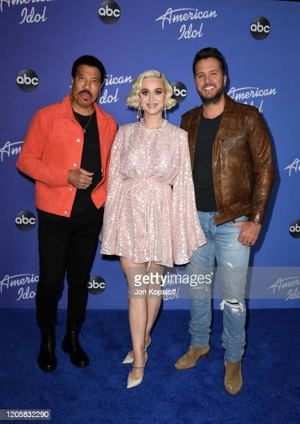 Lionel Richie Katy Perry and Luke Bryan attend the premiere event for American Idol hosted by ABC at Hollywood Roosevelt Hotel on February 12 2020 in...