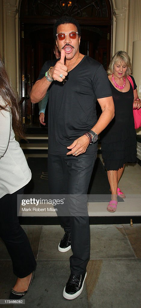 Lionel Richie leaving the Connaught hotel on July 14, 2013 in London, England.