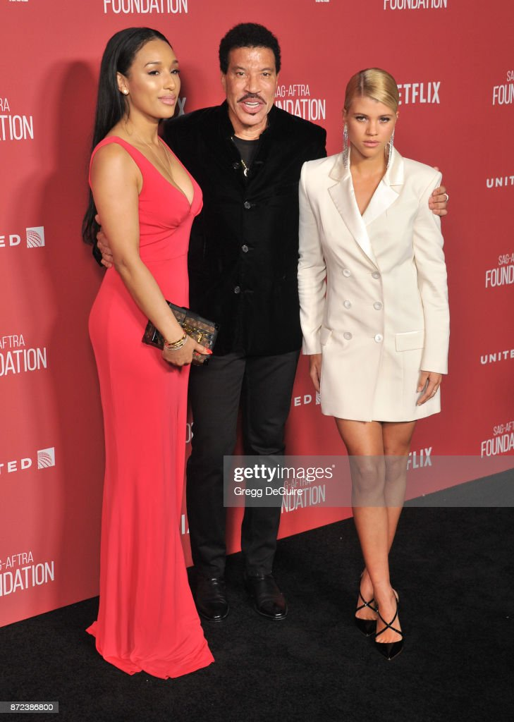 Lionel Richie, Lisa Parigi and Sofia Richie arrive at the SAG-AFTRA Foundation Patron of the Artists Awards 2017 on November 9, 2017 in Beverly Hills, California.