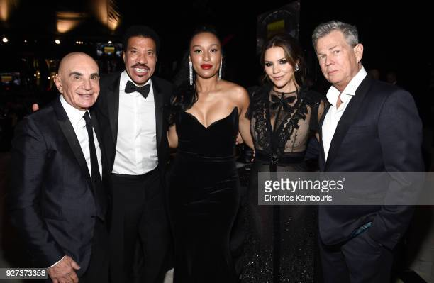 Lionel Richie Lisa Parigi Katharine McPhee and David Foster attend the 26th annual Elton John AIDS Foundation Academy Awards Viewing Party sponsored...