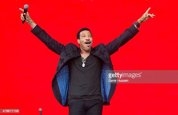Lionel Richie performs at the Glastonbury Festival at Worthy Farm Pilton on June 28 2015 in Glastonbury England