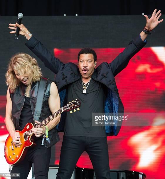 Lionel Richie performs at the Glastonbury Festival at Worthy Farm Pilton on June 28 2015 in Glastonbury England