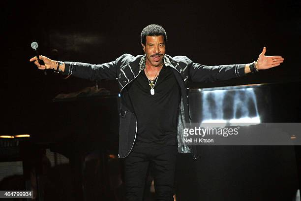 Lionel Richie performs on stage at Manchester Arena on February 28 2015 in Manchester United Kingdom