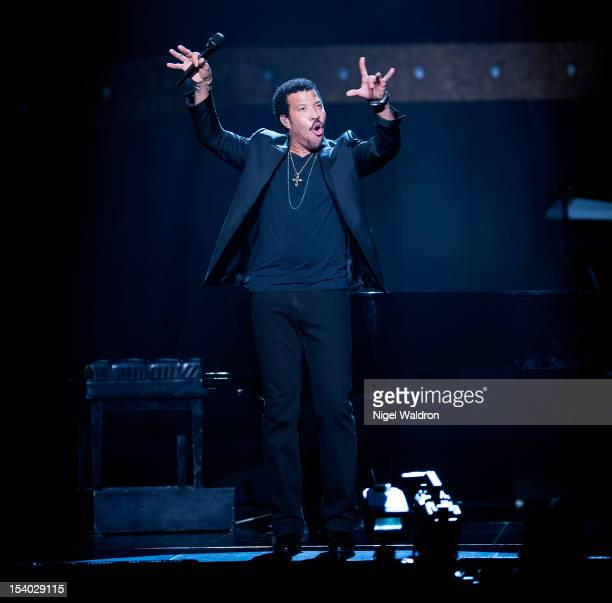 Lionel Richie performs on stage during Tuskegee Tour 2012 at Oslo Spektrum on October 12 2012 in Oslo Norway