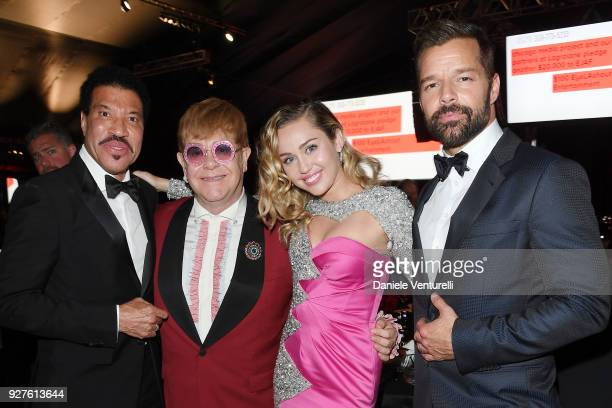 Lionel Richie Sir Elton John Miley Cyrus and Ricky Martin attend Elton John AIDS Foundation 26th Annual Academy Awards Viewing Party on March 4 2018...