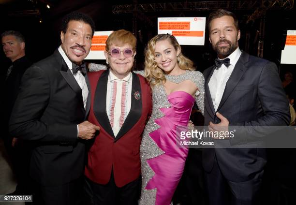 Lionel Richie Sir Elton John Miley Cyrus and Ricky Martin attend the 26th annual Elton John AIDS Foundation Academy Awards Viewing Party sponsored by...
