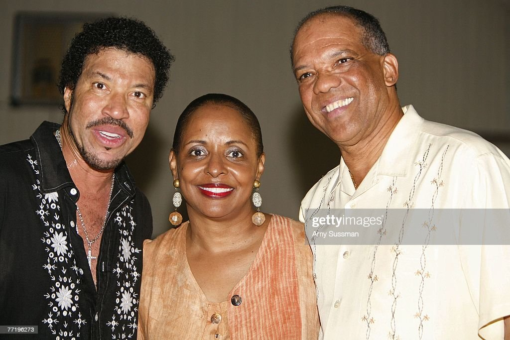 Lionel Richie, Wanda Henton and Dr. Ewart F. Brown, JP, MP, Bermuda Premier and Minister of Tourism and Transport, attend the second night of the Bermuda Music Festival at the National Sports Center on October 4, 2007 in Hamilton, Bermuda.