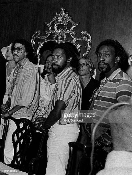 Lionel Richie William King and Thomas McClary of The Commodores attend a backstage Grammy presentation to The Jacksons on the Triumph Tour at The...