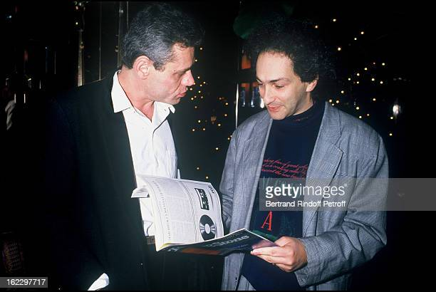Lionel Rotcage and Michel Berger at the Rolling Stones Magazine 20th anniversary party 1988