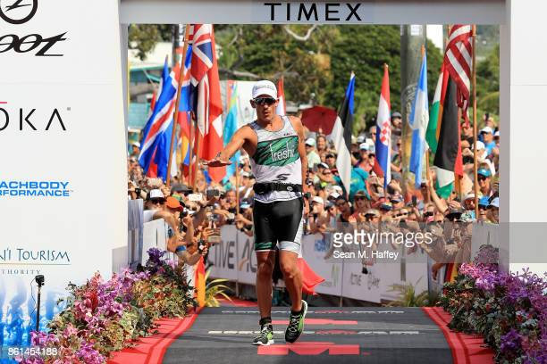 Lionel Sanders of Canada celebrates after finishing second during the IRONMAN World Championship on October 14 2017 in Kailua Kona Hawaii