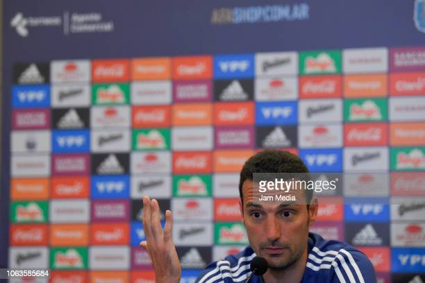 Lionel Scaloni coach of Argentina gestures during a press conference after arriving to Diplomatic Hotel on November 19 2018 in Mendoza Argentina...