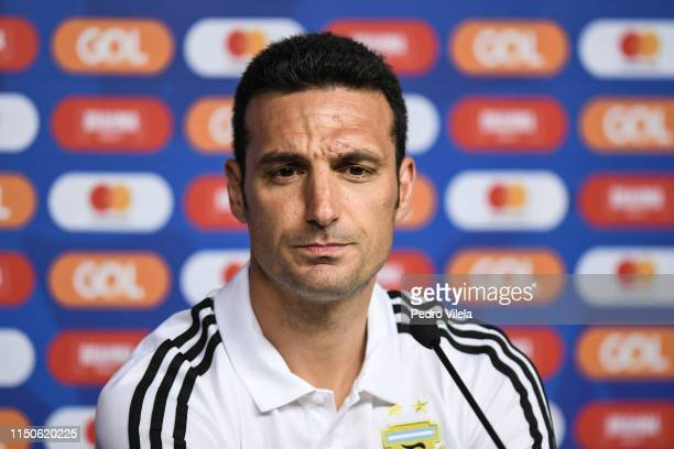 Lionel Scaloni coach of Argentina gestures during a press conference at Mineirao Stadium on June 18 2019 in Belo Horizonte Brazil