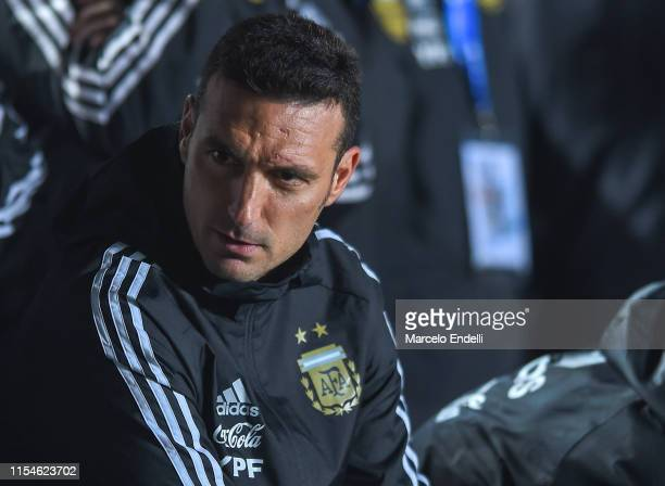 Lionel Scaloni coach of Argentina looks on before a friendly match between Argentina and Nicaragua at Estadio San Juan del Bicentenario on June 07...