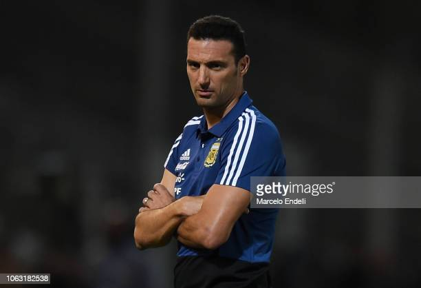 Lionel Scaloni coach of Argentina looks on during a friendly match between Argentina and Mexico at Mario Kempes Stadium on November 16 2018 in...