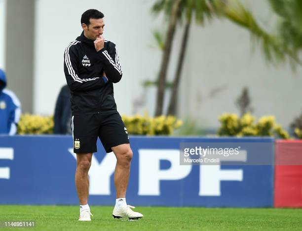 Lionel Scaloni coach of Argentina looks on during a training session at Julio H Grondona Training Camp on May 28 2019 in Ezeiza Argentina