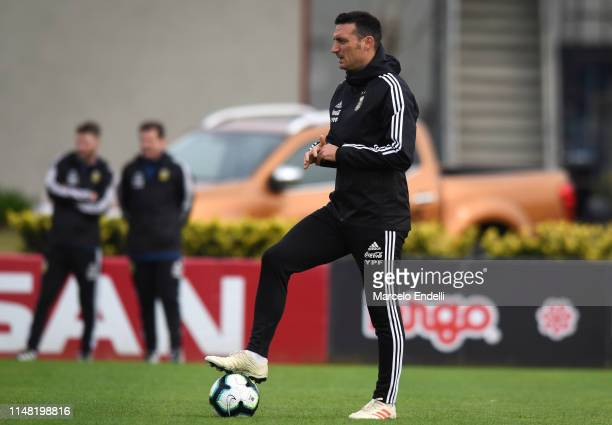 Lionel Scaloni coach of Argentina looks on during a training session at Julio H Grondona Training Camp on June 5 2019 in Ezeiza Argentina Argentina...