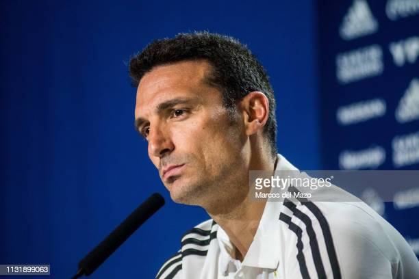 Lionel Scaloni coach of Argentina National Football Team holds a press conference ahead of friendly match against Venezuela National Football Team at...