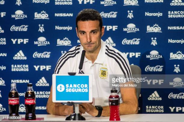 Lionel Scaloni coach of Argentina National Football Team holds a press conference ahead of friendly match against Venezuela National Football Team,...