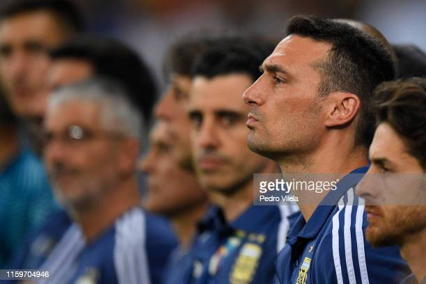 Lionel Scaloni head coach of Argentina gestures during the Copa America Brazil 2019 Semi Final match between Brazil and Argentina at Mineirao Stadium...