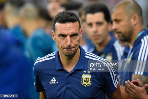 Lionel Scaloni head coach of Argentina gestures prior to the Copa America Brazil 2019 Semi Final match between Brazil and Argentina at Mineirao...