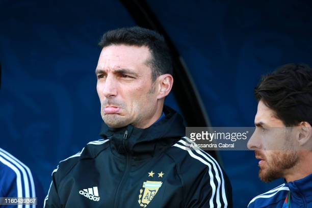 Lionel Scaloni head coach of Argentina gestures prior to the Copa America Brazil 2019 Third Place match between Argentina and Chile at Arena...