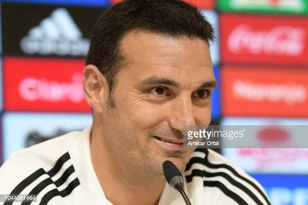 Lionel Scaloni Head Coach of Argentina smiles during a press conference at Ezeiza Training Camp on October 1 2018 in Ezeiza Argentina Argentina will...