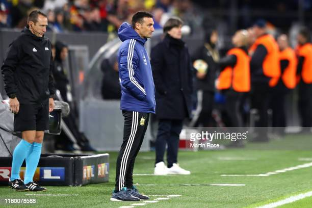 Lionel Scaloni Manager of Argentina looks on during the International Friendly match between Germany and Argentina at Signal Iduna Park on October 09...