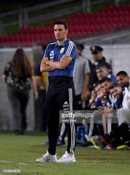 Lionel Scaloni of Argentina watches play against Guatemala during the first half at Los Angeles Memorial Coliseum on September 7 2018 in Los Angeles...