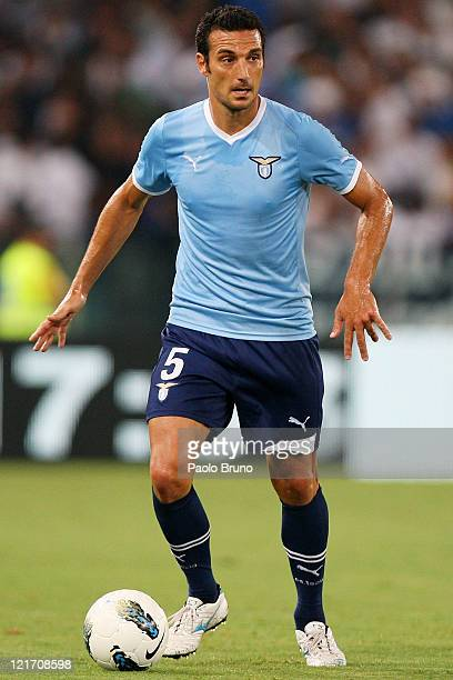 Lionel Scaloni of SS Lazio in action during the UEFA Europa League playoff first leg match between SS Lazio and FK Rabotnicki at Olimpico stadium on...