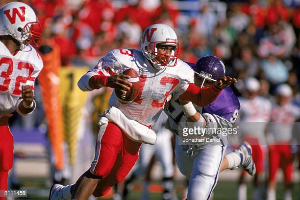 Lionell Crawford of the University of Wisconsin Badgers carries the ball during a game against Northwestern University Wildcats in the 1988 season