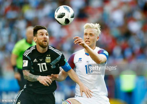 LionelMessi and Hordur Magnusson during the 2018 FIFA World Cup Russia group D match between Argentina and Iceland at the Spartak Stadium on June 16...