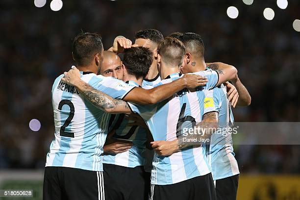 Liones Messi of Argentina and teammates celebrate the second goal of their team during a match between Argentina and Bolivia as part of FIFA 2018...