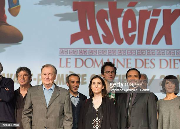Lionnel Astier Albert Uderzo Elie Seimoun Anne Gosciny Directors Louis Clichy and Alexandre Astier and Florence Foresti attend the 'Asterix Le...
