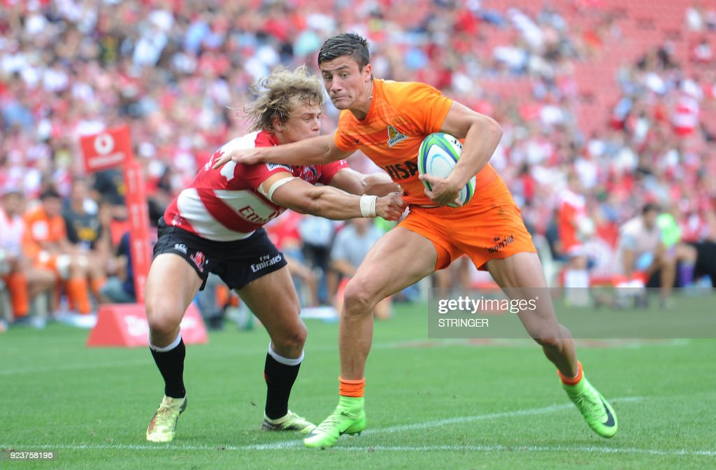 Lions Andries Coetzee tackles Jaguares Bautista Delguy during the SUPERXV Rugby match between Lions and Jaguares at Ellis Park Rugby Stadium on February 24, 2018 in Johannesburg, South Africa. /