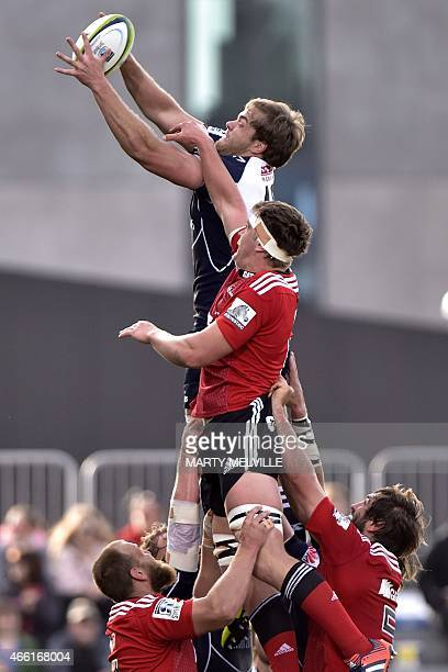 Lions' Andries Ferreira takes a line out ball with Crusaders' Scott Barrett during the Super 15 Rugby Union match between the Crusaders against RSA...
