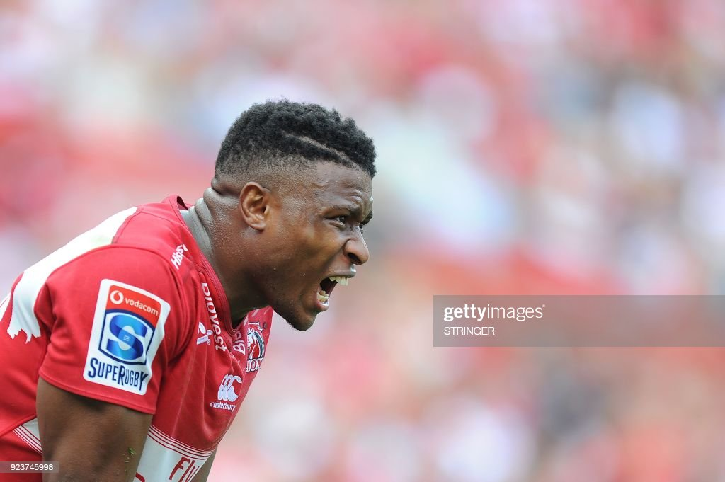 Lions Aphiwe Dyantyi stands during the SUPERXV Rugby match between Lions and Jaguares at Ellis Park Rugby Stadium on February 24, 2018 in Johannesburg, South Africa. /