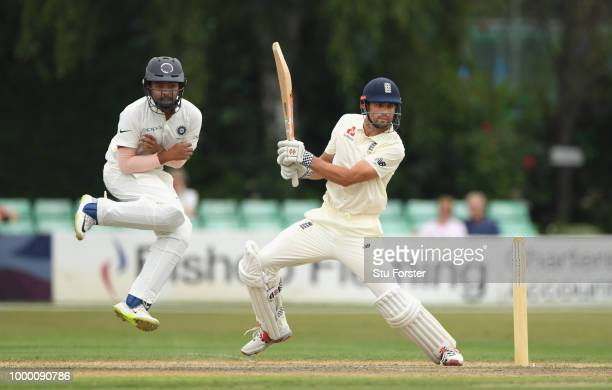 Lions batsman Alastair Cook hits out during day one of the four day international match between England Lions and India A at New Road on July 16 2018...