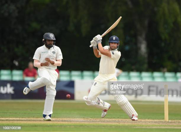 Lions batsman Alastair Cook cuts a ball towards the boundary during day one of the four day international match between England Lions and India A at...