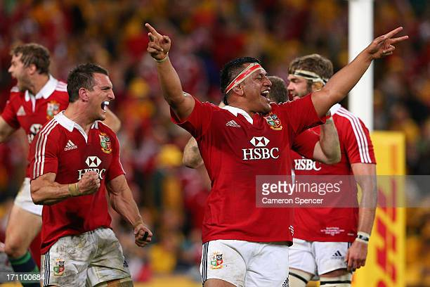 Lions captain Sam Warburton and Mako Vunipola of the Lions celebrate the First Test match between the Australian Wallabies and the British Irish...