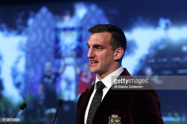 Lions captain Sam Warburton speaks during the NZRU Post Match Function at Sky City following the Test match between the New Zealand All Blacks and...