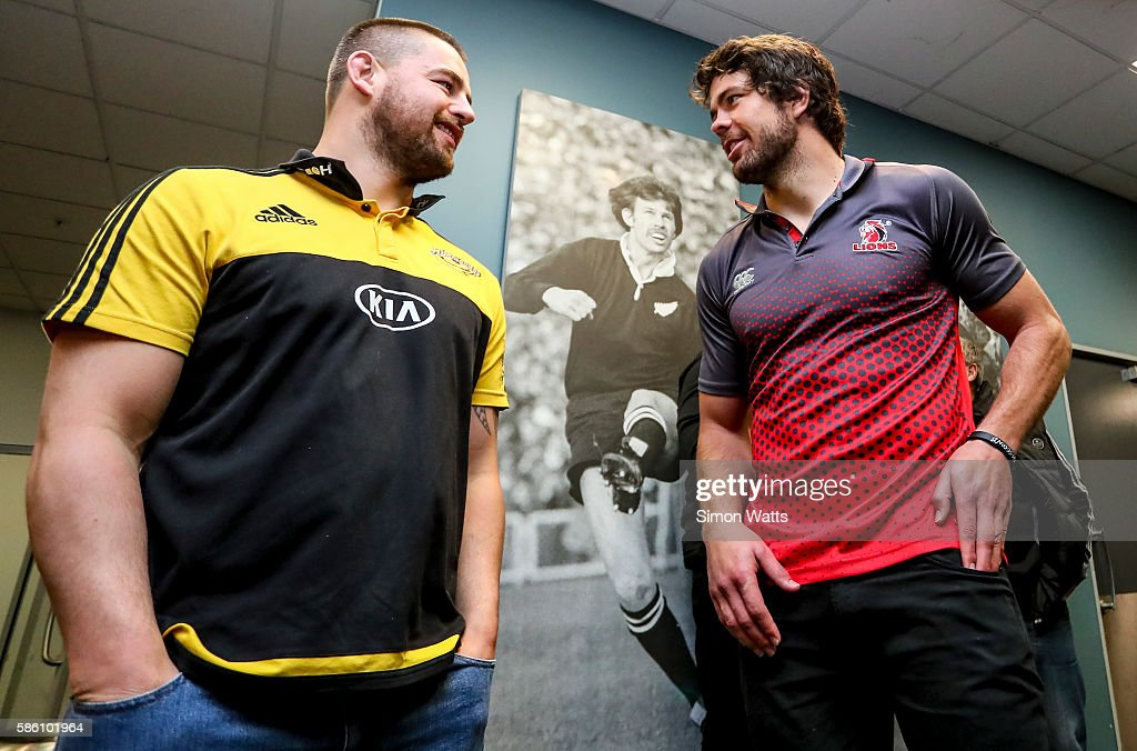 Lions captain Warren Whiteley (R) and Hurricanes captain Dane Coles pose for a photo during the Super Rugby Final media opportunity at Westpac Stadium on August 5, 2016 in Wellington, New Zealand.