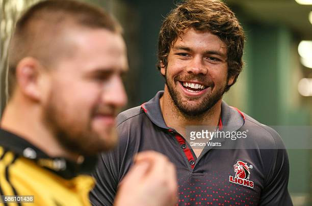 Lions captain Warren Whiteley during the Super Rugby Final media opportunity at Westpac Stadium on August 5 2016 in Wellington New Zealand