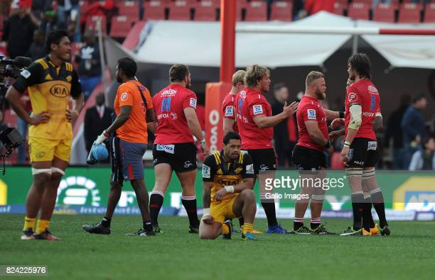 Lions celebrating their victory during the Super Rugby Semi Final match between Emirates Lions and Hurricanes at Emirates Airline Park on July 29...