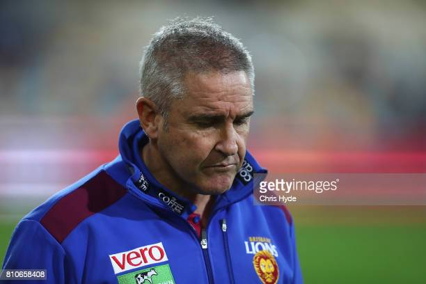 Lions coach Chris Fagan looks on during the round 16 AFL match between the Brisbane Lions and the Geelong Cats at The Gabba on July 8 2017 in...
